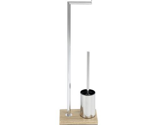 Serviteur WC Marla chrome/aspect bois