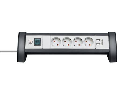 Bloc multiprise Brennenstuhl 4 emplacements prises disposées à 45° 2 ports de chargement USB interrupteur de sécurité 3G1,5 Premium-Office-Line noir/gris 1,8m