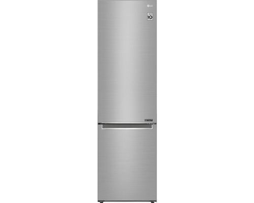 Réfrigérateur-congélateur LG GBB62PZGFN lxhxp 59,5 x 203 x 68,2 cm compartiment de réfrigération 277 l compartiment de congélation 107 l 215 kWh par an acier inoxydable