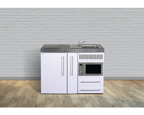 Kitchenette stengel Premiumline largeur 120 cm MPM120A KS plaque de cuisson en verre bac à droite