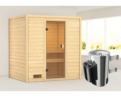 Sauna Plug & Play Woodfeeling Selena avec poêle 3,6kW et commande intégrée, sans couronne, avec porte entièrement vitrée couleur bronze
