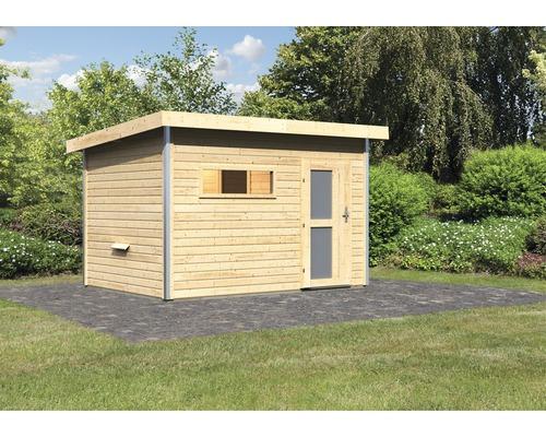 Chalet sauna Karibu Topas 2 sans poêle, avec porte en bois avec verre opale