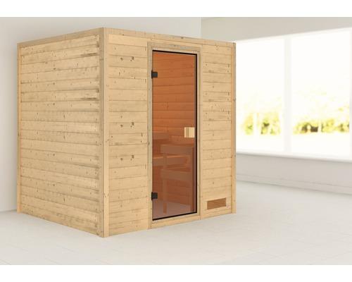 Sauna en madriers Woodfeeling Adelina sans poêle ni couronne, avec porte entièrement vitrée couleur bronze