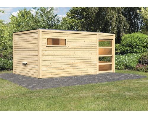 Chalet sauna Karibu Zirkon 2 sans poêle, avec vestibule et porte en bois avec verre transparent