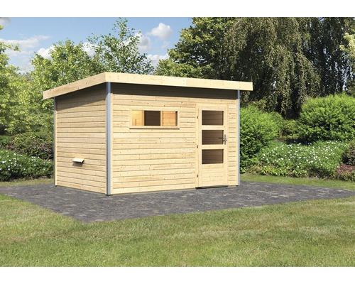 Chalet sauna Karibu Topas 2 sans poêle, avec porte en bois avec verre transparent