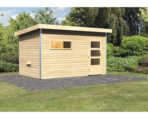 Chalet sauna Karibu Topas 3 sans poêle, avec vestibule et porte en bois avec verre transparent