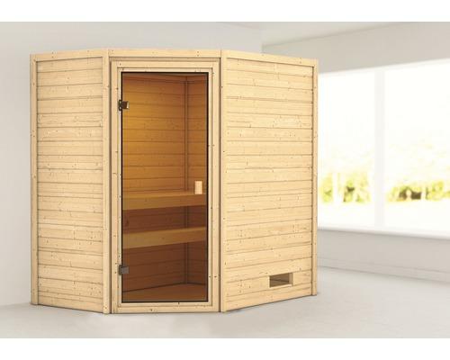 Sauna en madriers Woodfeeling Jella sans poêle ni couronne, avec porte entièrement vitrée couleur bronze