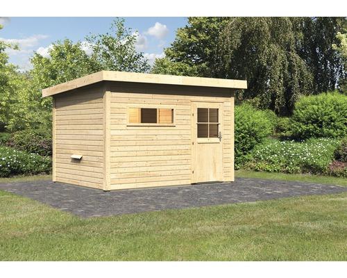 Chalet sauna Woodfeeling Aplit 2 sans poêle, avec vestibule et porte en bois avec verre à isolation thermique
