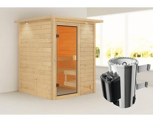 Sauna Plug & Play Woodfeeling Sandra avec poêle 3,6kW et commande intégrée, avec couronne et porte entièrement vitrée couleur bronze