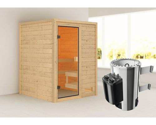 Sauna Plug & Play Woodfeeling Sandra avec poêle 3,6kW et commande intégrée, sans couronne, avec porte entièrement vitrée couleur bronze
