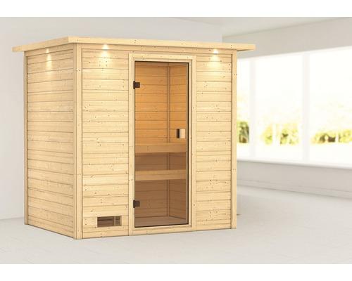 Sauna en madriers Woodfeeling Selena sans poêle, avec couronne et porte entièrement vitrée couleur bronze