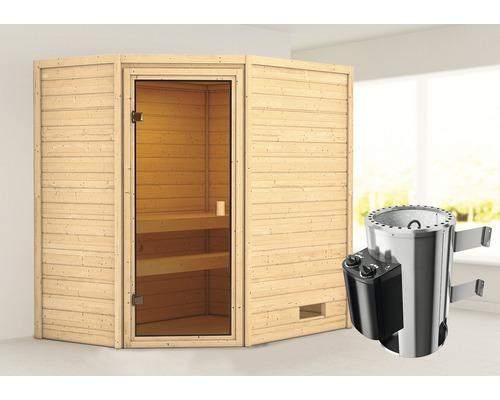 Sauna Plug & Play Woodfeeling Jella avec poêle 3,6kW et commande intégrée, sans couronne, avec porte entièrement vitrée couleur bronze