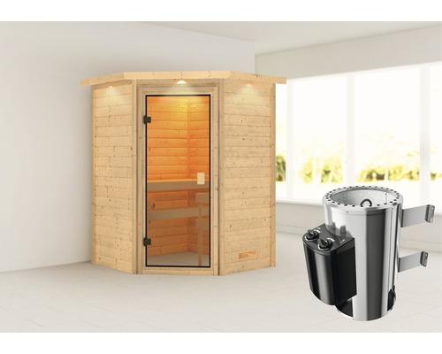 Sauna Plug & Play Woodfeeling Antonia avec poêle 3,6kW et commande intégrée, avec couronne et porte entièrement vitrée couleur bronze
