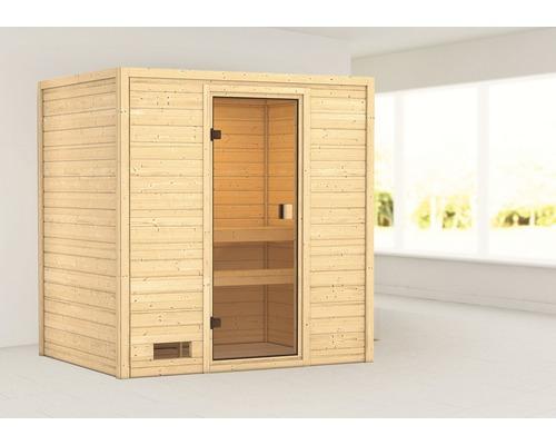 Sauna en madriers Woodfeeling Selena sans poêle ni couronne, avec porte entièrement vitrée couleur bronze