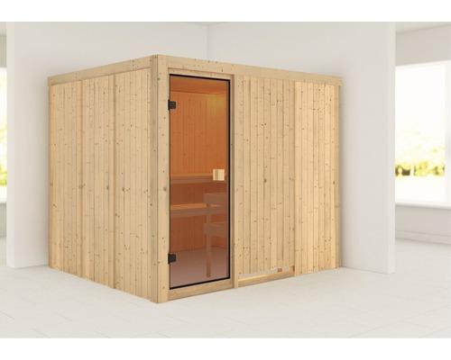 Sauna modulaire Woodfeeling Nybro sans poêle ni couronne, avec porte entièrement vitrée couleur bronze