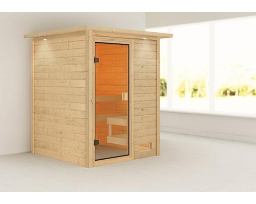 Sauna en madriers Woodfeeling Sandra sans poêle, avec couronne et porte entièrement vitrée couleur bronze