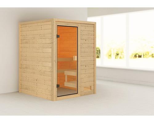 Sauna en madriers Woodfeeling Sandra sans poêle ni couronne, avec porte entièrement vitrée couleur bronze