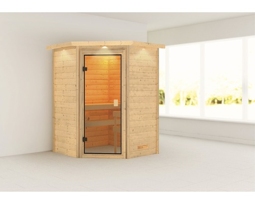 Sauna en madriers Woodfeeling Antonia sans poêle, avec couronne et porte entièrement vitrée couleur bronze
