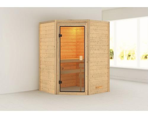 Sauna Plug & Play Woodfeeling Antonia avec poêle 3,6kW et commande intégrée, sans couronne, avec porte entièrement vitrée couleur bronze