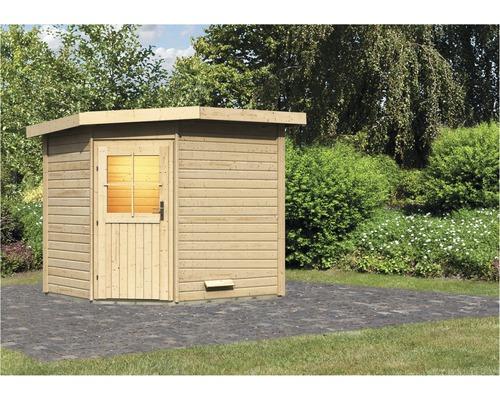 Chalet sauna Woodfeeling Onyx 2 sans poêle ni vestibule, avec porte en bois avec verre à isolation thermique