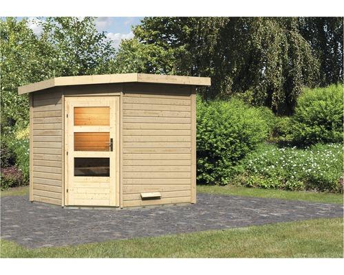 Chalet sauna Karibu Rubin 2 sans poêle, avec porte en bois avec verre transparent