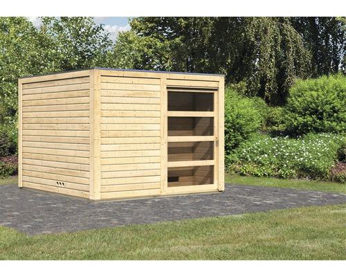 Chalet sauna Karibu Zirkon 1 sans poêle, avec entrée et porte en bois avec verre transparent