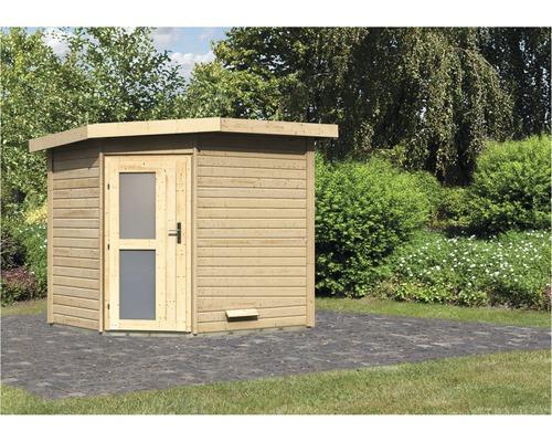 Chalet sauna Karibu Rubin 2 sans poêle, avec porte en bois avec verre opale