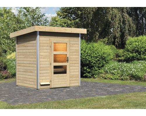 Chalet sauna Karibu Opal 1 sans poêle, avec porte en bois avec verre transparent