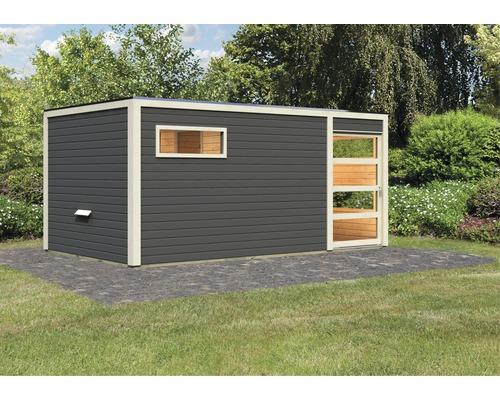 Chalet sauna Karibu Zirkon 2 sans poêle, avec vestibule et porte en bois avec verre transparent anthracite/blanc
