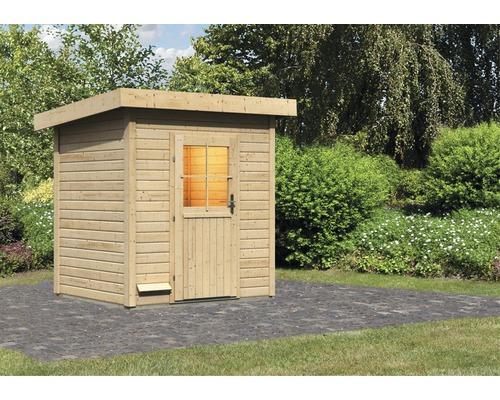 Chalet sauna Woodfeeling Turmalin 1 sans poêle ni vestibule, avec porte en bois avec verre à isolation thermique