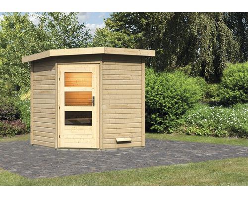 Chalet sauna Karibu Rubin 1 sans poêle, avec porte en bois avec verre transparent
