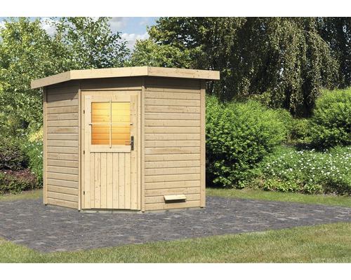Chalet sauna Woodfeeling Onyx sans poêle ni vestibule, avec porte en bois avec verre à isolation thermique