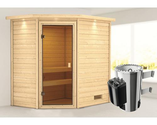 Sauna Plug & Play Woodfeeling Jella avec poêle 3,6kW et commande intégrée, avec couronne et porte entièrement vitrée couleur bronze