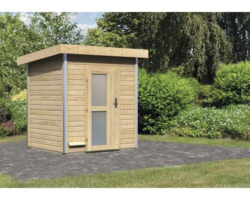 Chalet sauna Karibu Opal 1 sans poêle, avec porte en bois avec verre opale