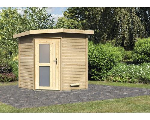 Chalet sauna Karibu Rubin 1 sans poêle, avec porte en bois avec verre opale