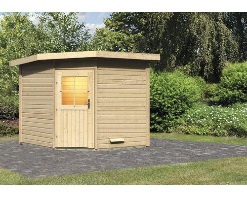 Chalet sauna Woodfeeling Onyx 3 sans poêle ni vestibule, avec porte en bois avec verre à isolation thermique