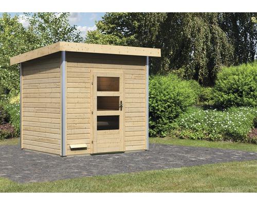 Chalet sauna Karibu Opal 4 sans poêle, avec porte en bois avec verre transparent