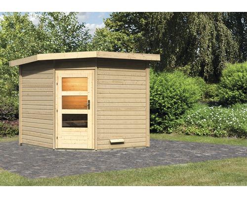 Chalet sauna Karibu Rubin 3 sans poêle, avec porte en bois avec verre transparent