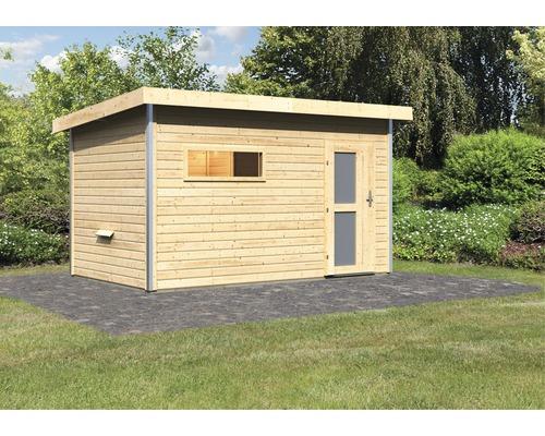 Chalet sauna Karibu Topas 3 sans poêle, avec vestibule et porte en bois avec verre opale