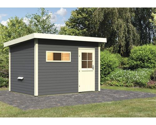 Chalet sauna Woodfeeling Aplit 2 sans poêle, avec vestibule et porte en bois avec verre à isolation thermique anthracite/blanc