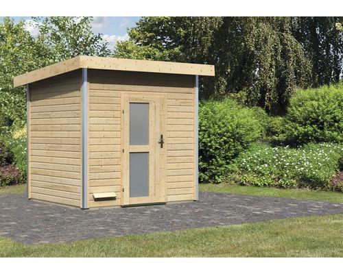 Chalet sauna Karibu Opal 4 sans poêle, avec porte en bois avec verre opale