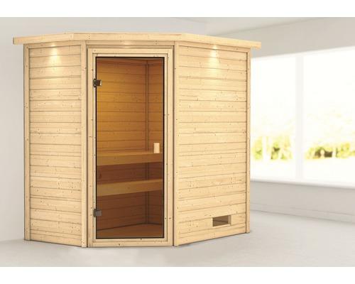 Sauna en madriers Woodfeeling Jella sans poêle, avec couronne et porte entièrement vitrée couleur bronze