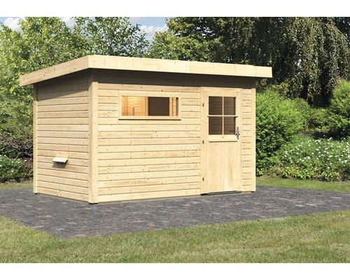 Chalet sauna Woodfeeling Aplit 1 sans poêle, avec vestibule et porte en bois avec verre à isolation thermique