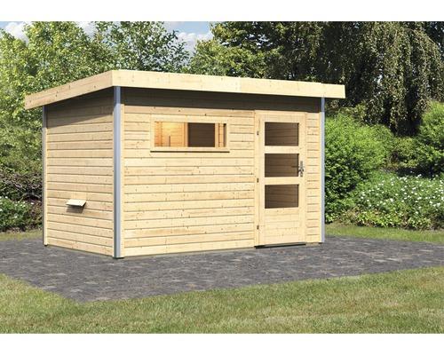 Chalet sauna Karibu Topas 1 sans poêle, avec porte en bois avec verre transparent