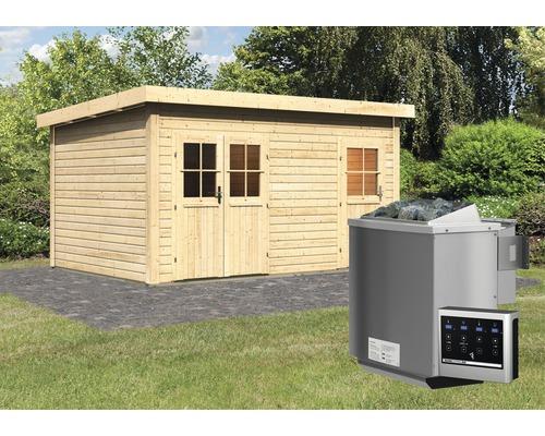 Chalet sauna Woodfeeling Nakrit avec poêle bio et commande externe, avec entrée et portes en bois avec verre à isolation thermique