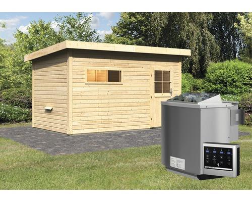 Chalet sauna Woodfeeling Aplit 3 avec poêle bio 9kW et commande externe, avec vestibule et porte en bois avec verre à isolation thermique