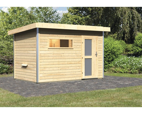 Chalet sauna Karibu Topas 1 sans poêle, avec porte en bois avec verre opale