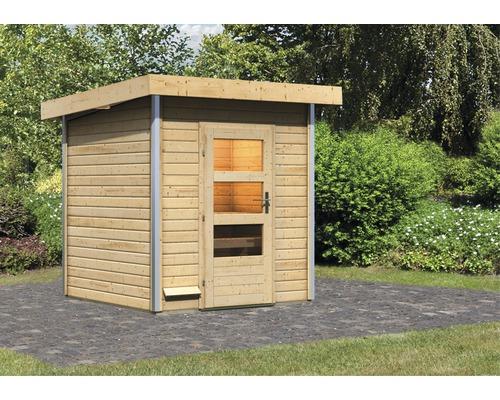 Chalet sauna Karibu Opal 2 sans poêle, avec porte en bois avec verre transparent