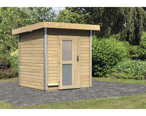 Chalet sauna Karibu Opal 2 sans poêle, avec porte en bois avec verre opale