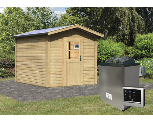 Chalet sauna Woodfeeling Rhodonit 1 avec poêle 9kW et commande externe, avec vestibule et porte en bois avec verre à isolation thermique
